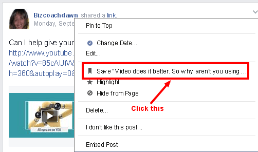 Facebook bookmark and save feature