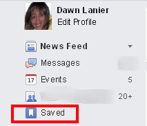 Facebook saved posts location